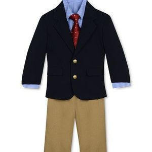 Nautica Boys Navy Tan Suit Set 3pc size 4T